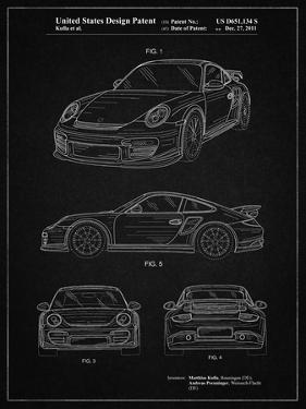 PP994-Vintage Black Porsche 911 with Spoiler Patent Poster by Cole Borders