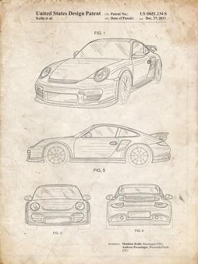 PP994-Vintage Parchment Porsche 911 with Spoiler Patent Poster by Cole Borders