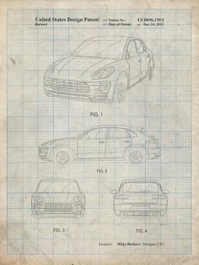 PP995-Antique Grid Parchment Porsche Cayenne Patent Poster by Cole Borders