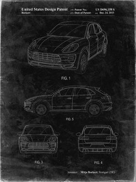 PP995-Black Grunge Porsche Cayenne Patent Poster by Cole Borders