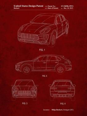 PP995-Burgundy Porsche Cayenne Patent Poster by Cole Borders