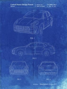 PP995-Faded Blueprint Porsche Cayenne Patent Poster by Cole Borders