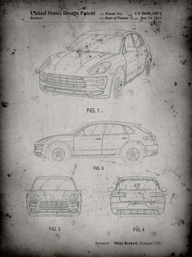PP995-Faded Grey Porsche Cayenne Patent Poster by Cole Borders