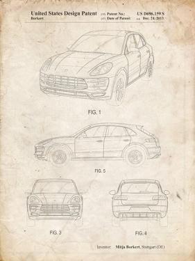 PP995-Vintage Parchment Porsche Cayenne Patent Poster by Cole Borders