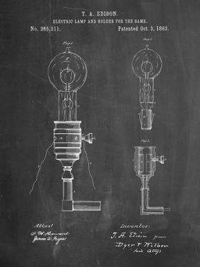 T. A. Edison Light Bulb and Holder Patent Art by Cole Borders