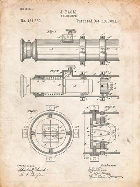 Telescope Vintage Patent 1891 by Cole Borders