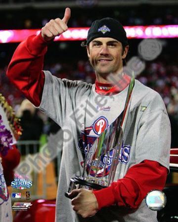 Cole Hamels w/2008 World Series MVP trophy