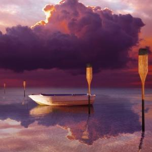 Cumulus Cloud, Rowboat, and Paddles by Colin Anderson