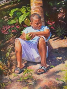 Boy  Breadfruit  coconut  2019  (oil on linen) by Colin Bootman