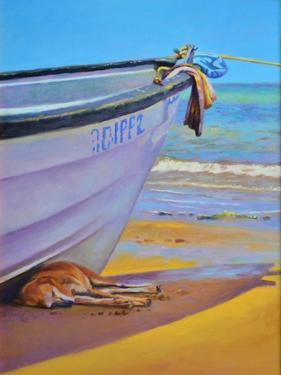 Dog-Tired oil on board by Colin Bootman