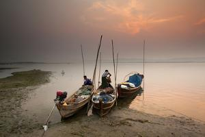 Fisherman Prepare to Set Out, Irrawaddy River, Myanmar (Burma), Asia by Colin Brynn