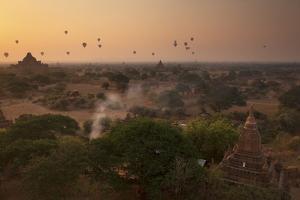 Hot Air Balloons at Sunrise Above Bagan (Pagan), Myanmar (Burma), Asia by Colin Brynn
