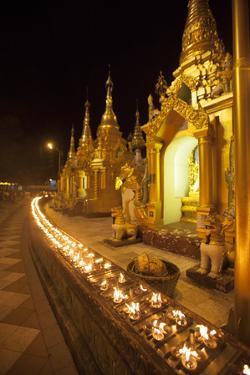 Oil Lamps, Shwedagon Pagoda, Yangon (Rangoon), Myanmar (Burma), Asia by Colin Brynn