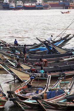 River Life, Passenger Ferries, Yangon River, Yangon (Rangoon), Myanmar (Burma), Asia by Colin Brynn