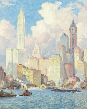 Hudson River Waterfront, New York by Colin Campbell Cooper