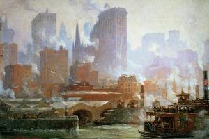 Wall Street Ferry Ship by Colin Campbell Cooper