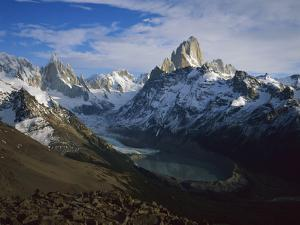Cerro Torre (Left) and Fitzroy, from Loma Del Pueque Umbado, Los Glaciares Nat'l Park, Argentina by Colin Monteath/Minden Pictures
