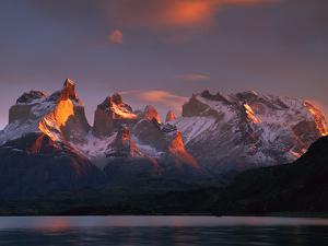 Cuernos Del Paine at Dawn and Lago Pehoe, Torres Del Paine National Park, Patagonia, Chile by Colin Monteath/Minden Pictures