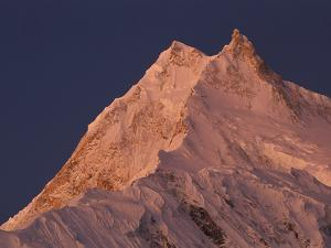 Manaslu (8,156 Meters) at Dawn, Mansiri Himal Region of the Nepalese Himalayas, Nepal by Colin Monteath/Minden Pictures