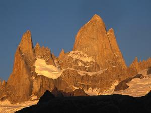 Mt Fitzroy and Poincenot at Dawn, Los Glaciares National Park, Patagonian Andes, Argentina by Colin Monteath/Minden Pictures