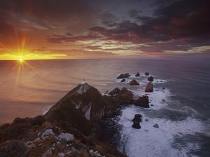 Nugget Point Lighthouse at Sunrise, South Island, New Zealand by Colin Monteath/Minden Pictures