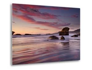 Sunset on Beach North of Punakaiki, Paparoa National Park, New Zealand by Colin Monteath/Minden Pictures