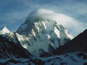 Wind Cloud over the Summit of K2, 2nd Highest Peak in the World, Karakoram Mountains, Pakistan by Colin Monteath/Minden Pictures