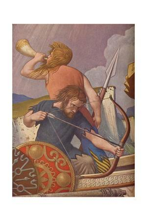 'King Alfred's long-ships defeat the Danes 877', 1925-1927