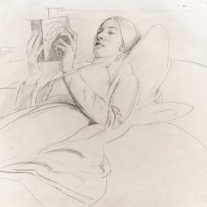 Portrait of Winifred Knights (1899-1947) Reading, c.1921 by Colin Unwin Gill