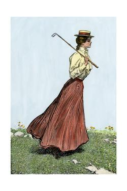 College Girl Playing Golf, Circa 1900