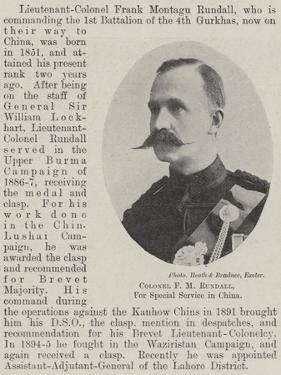 Colonel F M Rundall, for Special Service in China