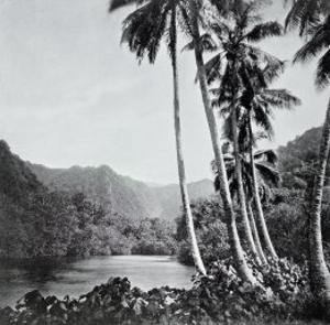"""Hitiaa Lake, from """"Tahiti,"""" Published in London, 1882 by Colonel Stuart-wortley"""