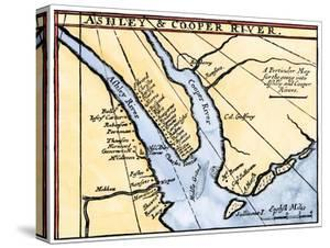 Colonial Map of the Ashley and Cooper Rivers, Site of Charleston, South Carolina, 1600s