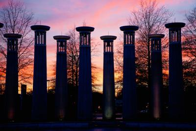 Colonnade in a park at sunset, 95 Bell Carillons, Bicentennial Mall State Park, Nashville, David...