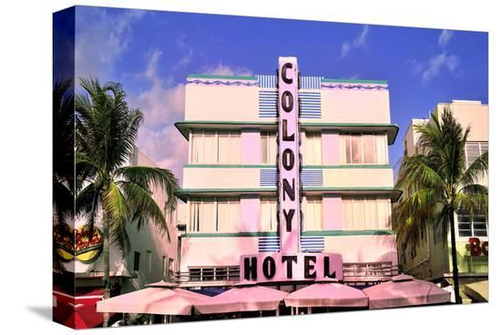 Colony Hotel at the Ocean Drive in the Art Deco District in South Miami Beach, Miami, Florida, USA--Stretched Canvas