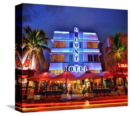Colony Hotel on Ocean Drive in the Art Deco District of South Miami Beach in Miami, Florida, USA--Stretched Canvas Print