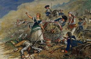 Color Engraving of Molly Pitcher at the Battle of Monmouth