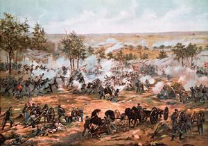 Color Lithograph Showing the Battle of Gettysburg
