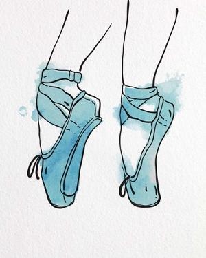 Ballet Shoes En Pointe Blue Watercolor Part I by Color Me Happy