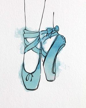 Ballet Shoes En Pointe Blue Watercolor Part III by Color Me Happy