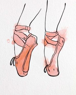 Ballet Shoes En Pointe Orange Watercolor Part I by Color Me Happy