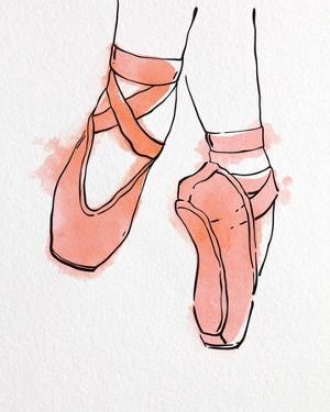 Ballet Shoes En Pointe Orange Watercolor Part II by Color Me Happy