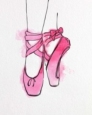 Ballet Shoes En Pointe Pink Watercolor Part III by Color Me Happy