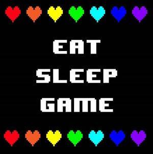 Eat Sleep Game - Black with Pixel Hearts by Color Me Happy