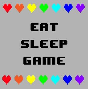 Eat Sleep Game - Gray with Pixel Hearts by Color Me Happy