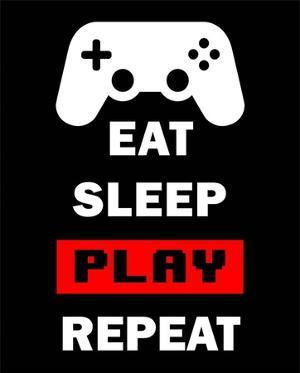 Eat Sleep Game Repeat - Black and Red by Color Me Happy