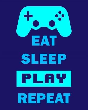 Eat Sleep Game Repeat - Blue by Color Me Happy