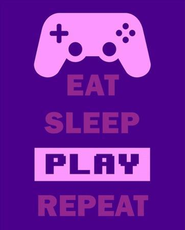 Eat Sleep Game Repeat - Purple by Color Me Happy