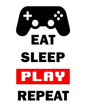 Eat Sleep Game Repeat - White and Red