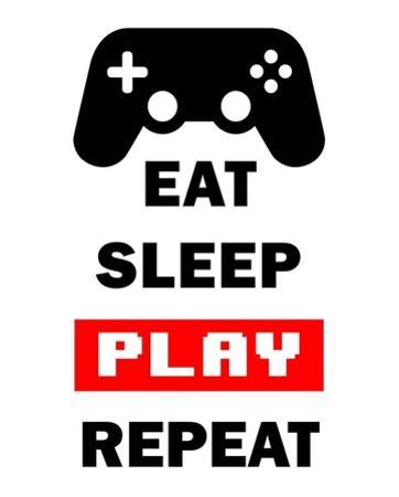Eat Sleep Game Repeat - White and Red by Color Me Happy